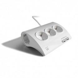 EWENT  REGLETA  de  escritorio.  5  TOMAS.  2  PUERTOS  USB.  BLANCO  (EW3935)