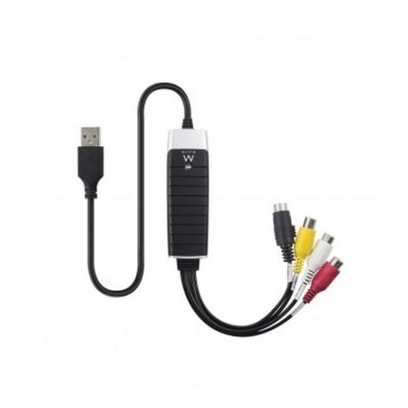 Ewent  EW3706  USB  2.0  S-Video/Composite  AV  Negro,  Gris,  Rojo,  Color  blanco,  Amarillo  adaptador  de  cab